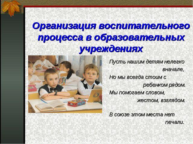 Организация воспитательного процесса в образовательных учреждениях Пусть наши...