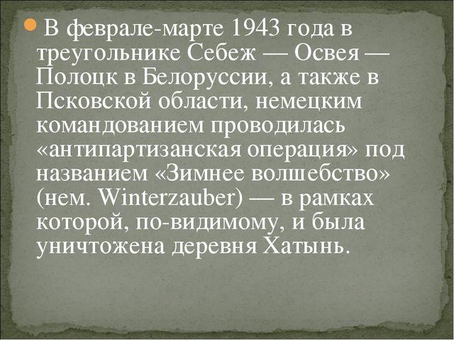 В феврале-марте 1943 года в треугольнике Себеж — Освея — Полоцк в Белоруссии,...
