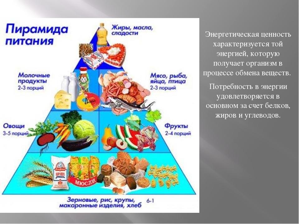 Энергетическая ценность характеризуется той энергией, которую получает органи...