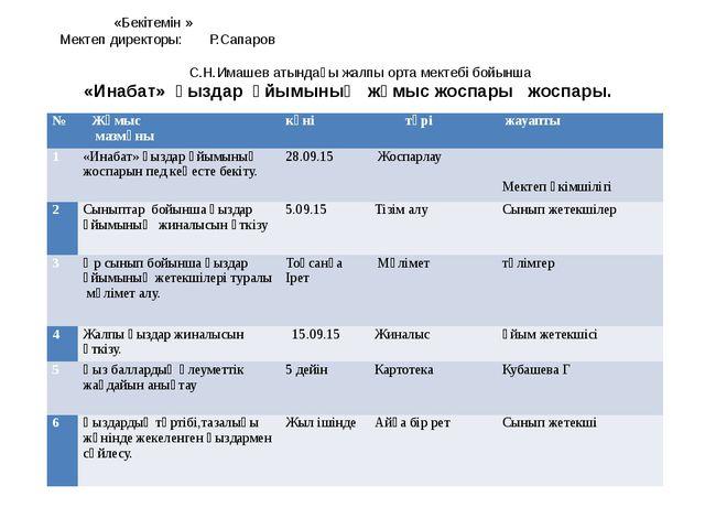 «Бекітемін » Мектеп директоры: Р.Сапаров С.Н.Имашев атындағы жалпы орта мект...