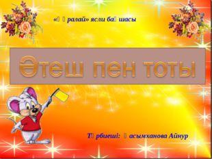 Тәрбиеші: Қасымханова Айнур «Құралай» ясли бақшасы