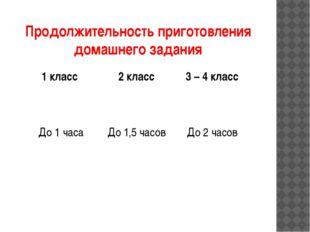 Продолжительность приготовления домашнего задания 1 класс 2 класс 3 – 4 класс