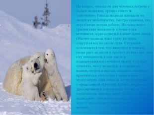 На вопрос, опасна ли для человека встреча с белым медведем, трудно ответить о