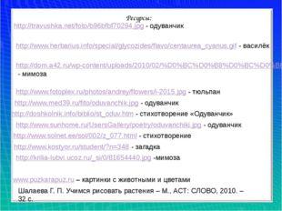 http://travushka.net/foto/b96bfbf70294.jpg - одуванчик Ресурсы: http://www.he