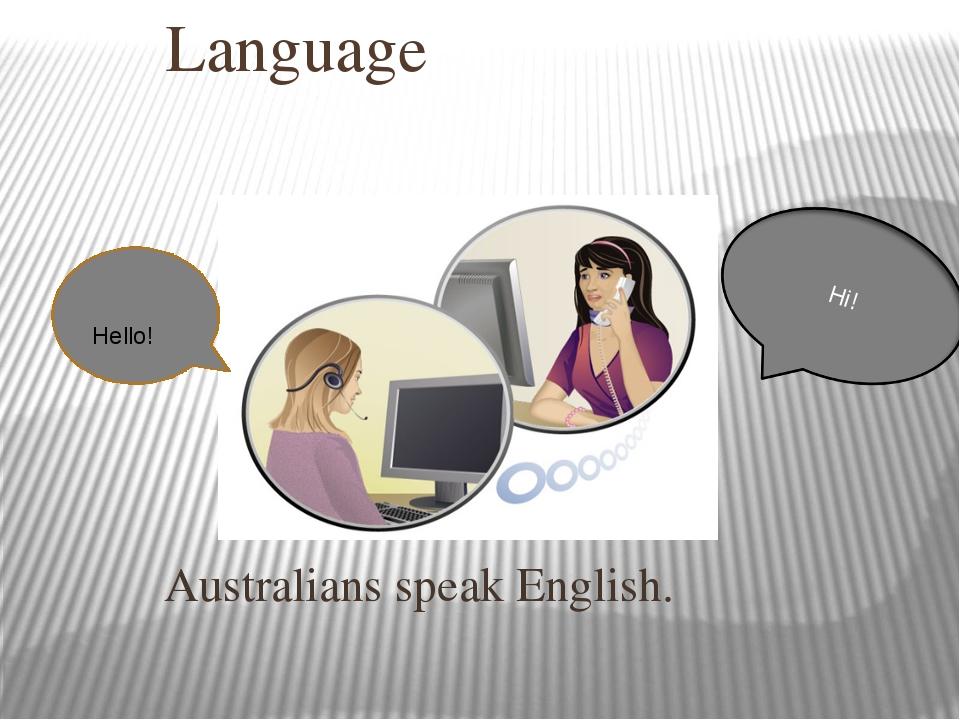 Language Australians speak English. Hello! Hi!
