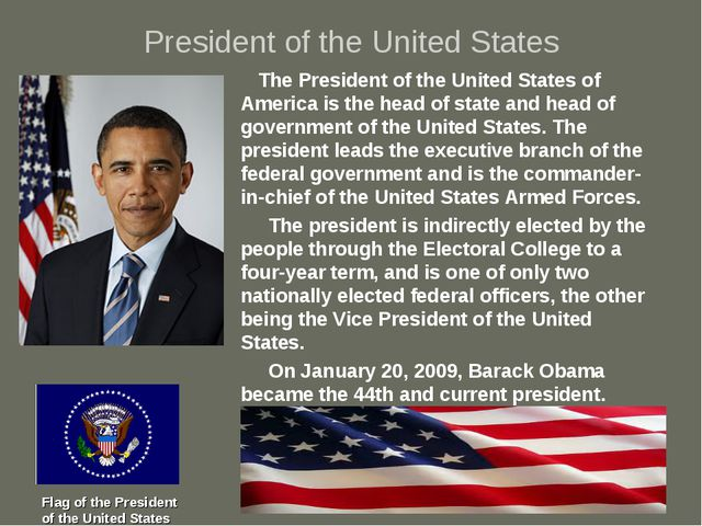 President of the United States The President of the United States of America...