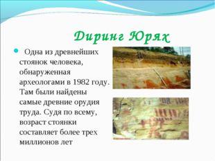 Диринг Юрях Одна из древнейших стоянок человека, обнаруженная археологами в
