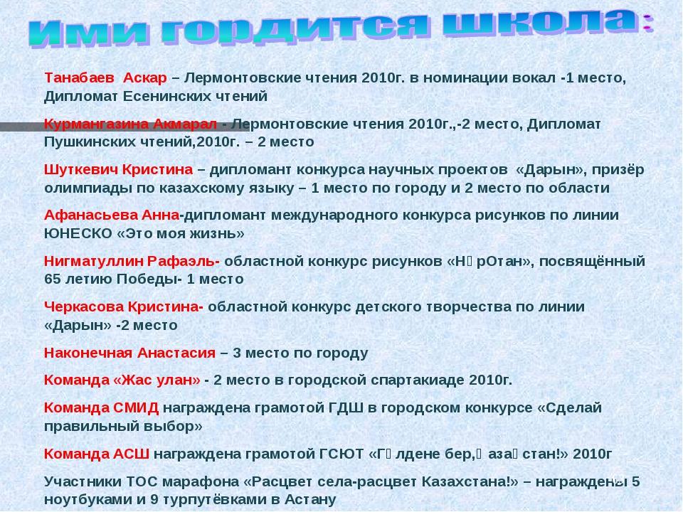 Танабаев Аскар – Лермонтовские чтения 2010г. в номинации вокал -1 место, Дипл...