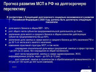 Прогноз развития МСП в РФ на долгосрочную перспективу В соответствие с Концеп