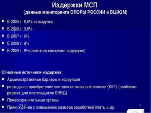 Издержки МСП (данные мониторинга ОПОРЫ РОССИИ и ВЦИОМ) В 2005 г. 8,5% от выру