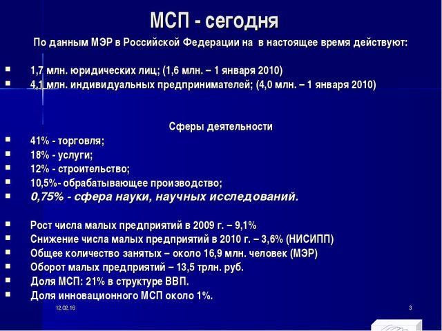 МСП - сегодня По данным МЭР в Российской Федерации на в настоящее время дейст...