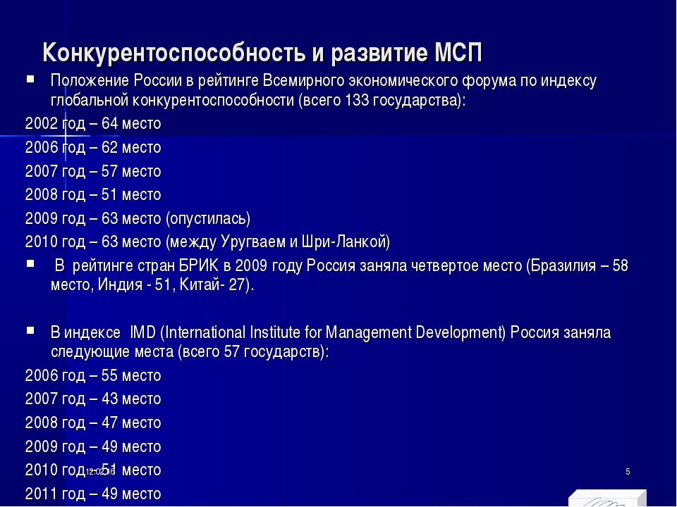 Конкурентоспособность и развитие МСП Положение России в рейтинге Всемирного э...