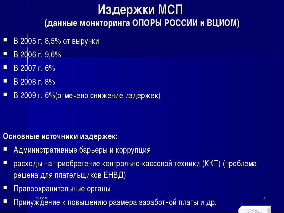 Издержки МСП (данные мониторинга ОПОРЫ РОССИИ и ВЦИОМ) В 2005 г. 8,5% от выру...