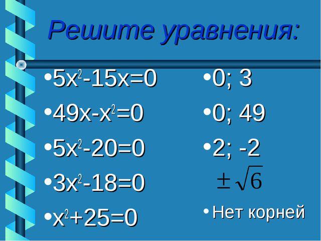 Решите уравнения: 5х2-15х=0 49х-х2=0 5х2-20=0 3х2-18=0 х2+25=0 0; 3 0; 49 2;...