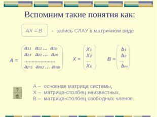 Вспомним такие понятия как: А – основная матрица системы, Х – матрица-столбец