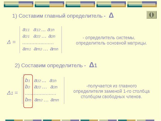 Δ = а11 а12 ... a1n a21 a22 … a2n ..................... am1 am2 … amn - опред...