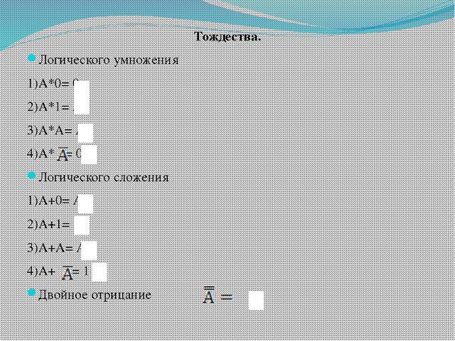 Тождества. Логического умножения 1)А*0= 0 2)А*1= А 3)А*А= А 4)А* = 0 Логическ...