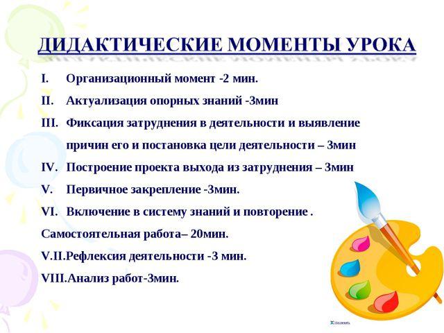 Этапы урока Организационный момент -2 мин. Актуализация опорных знаний -3мин...