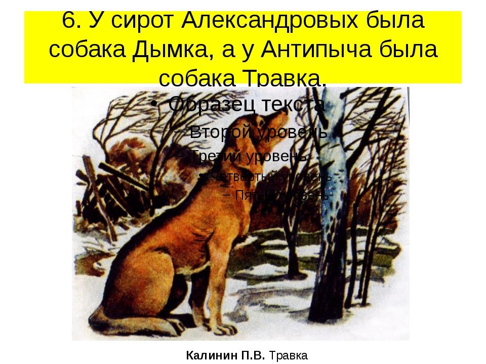 6. У сирот Александровых была собака Дымка, а у Антипыча была собака Травка....