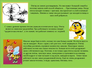Пчёлы не умеют разговаривать. Но они живут большой семьёй и поэтому нашли св