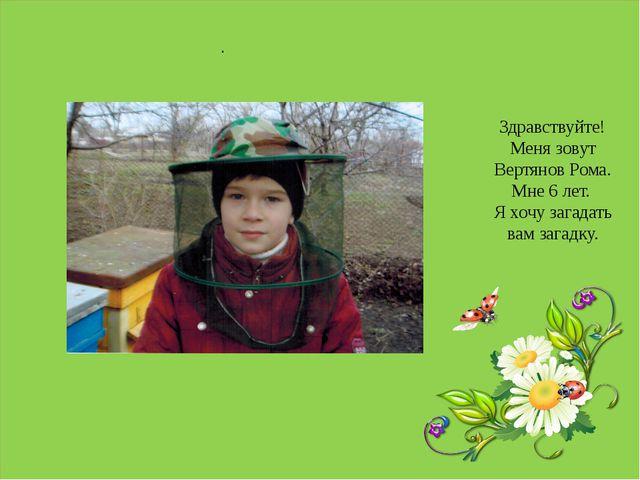 . . Здравствуйте! Меня зовут Вертянов Рома. Мне 6 лет. Я хочу загадать вам з...