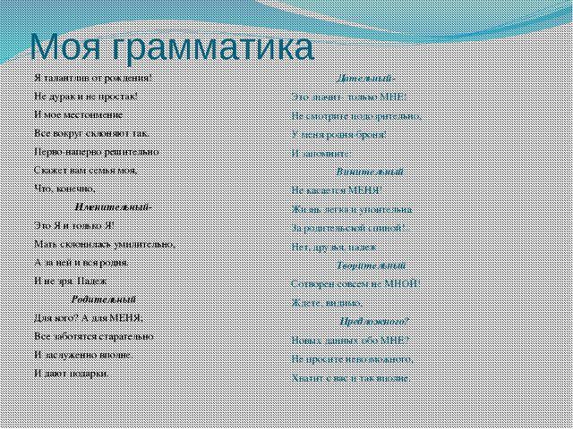 Моя грамматика Я талантлив от рождения! Не дурак и не простак! И мое местоиме...
