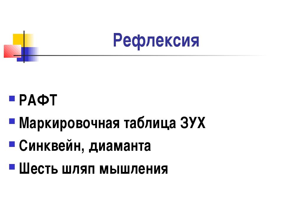 Рефлексия РАФТ Маркировочная таблица ЗУХ Синквейн, диаманта Шесть шляп мышления