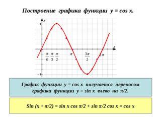 Построение графика функции y = cos x. График функции у = cos x получается пер