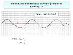 Наибольшее и наименьшее значения функции на промежутке 1 -1 y=sin x на [-2π/3
