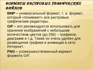 ФОРМАТЫ РАСТРОВЫХ ГРАФИЧЕСКИХ ФАЙЛОВ BMP – универсальный формат, т. е. формат