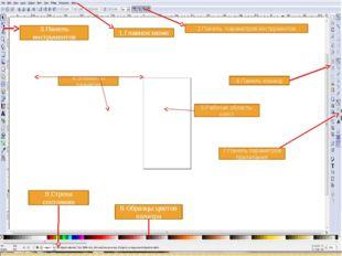 1.Главное меню 2.Панель параметров инструментов 3.Панель инструментов 4.Элеме