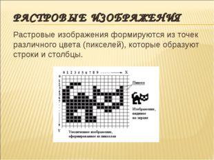 РАСТРОВЫЕ ИЗОБРАЖЕНИЯ Растровые изображения формируются из точек различного ц