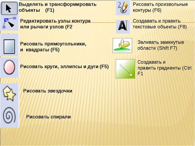 Выделять и трансформировать объекты (F1) Редактировать узлы контура или рычаг...