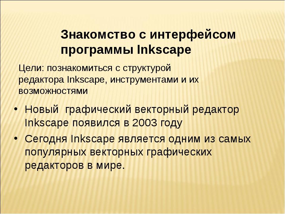 Знакомство с интерфейсом программы Inkscape Цели: познакомиться с структурой...