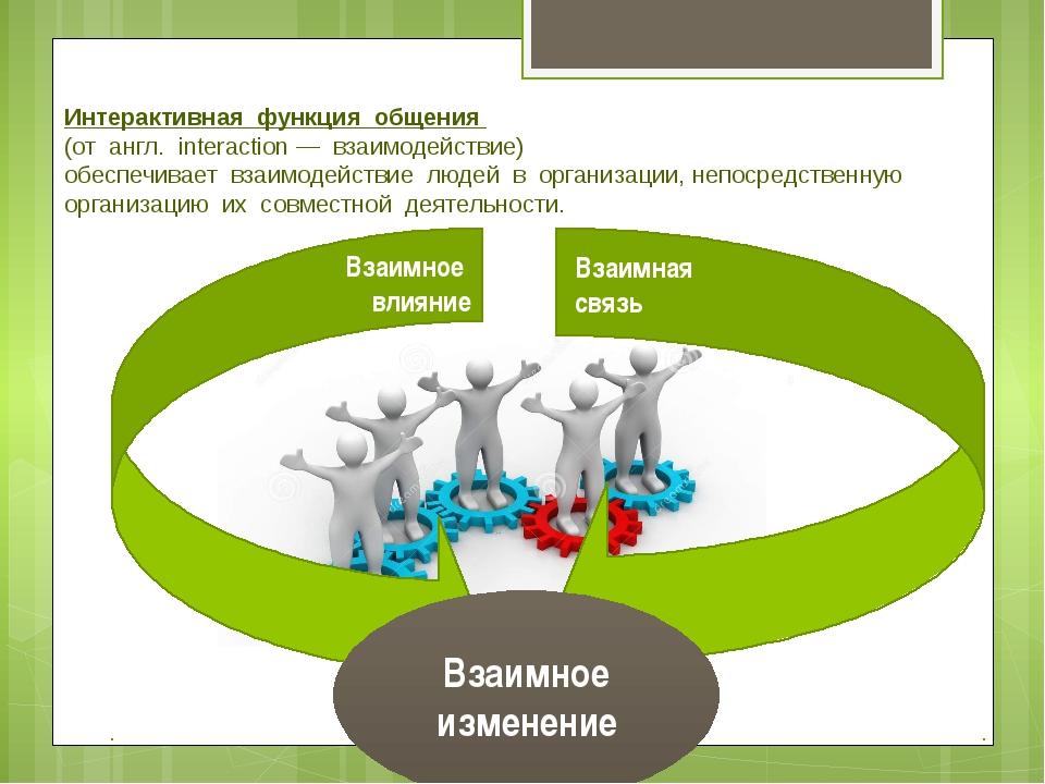 Интерактивная функция общения (от англ. interaction — взаимодействие) обеспеч...