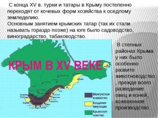 С конца XV в. турки и татары в Крыму постепенно переходят от кочевых форм хо