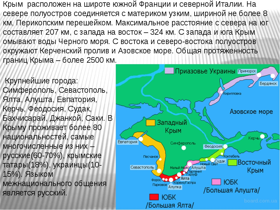 Крым расположен на широте южной Франции и северной Италии. На севере полуостр...