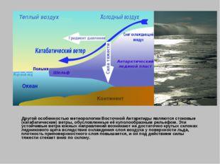 Другой особенностью метеорологии Восточной Антарктиды являютсястоковые (кат