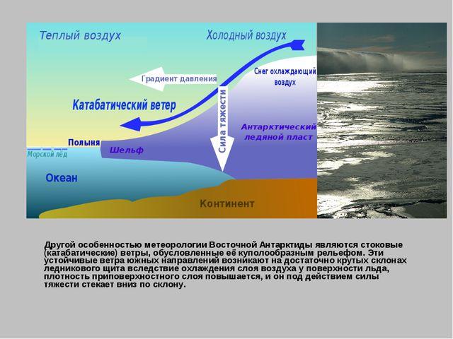 Другой особенностью метеорологии Восточной Антарктиды являютсястоковые (кат...