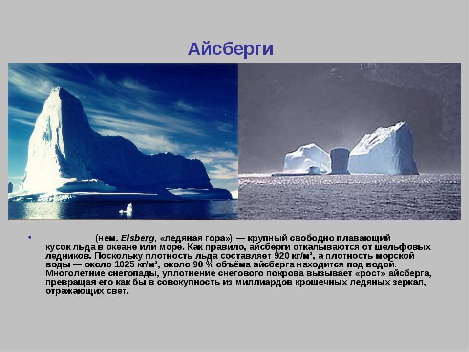 Айсберги А́йсберг(нем.Eisberg, «ледяная гора»)— крупный свободно плавающий...
