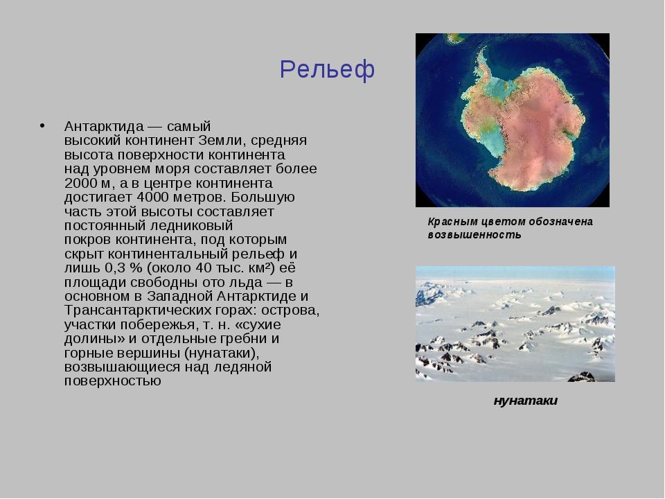 Рельеф Антарктида— самый высокийконтинентЗемли, средняя высота поверхности...