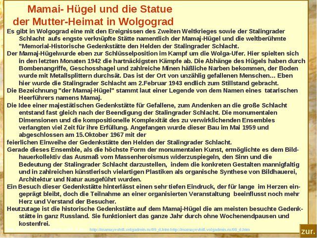 Mamai- Hügel und die Statue der Mutter-Heimat in Wolgograd Es gibt in Wolgog...