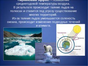 Парниковый эффект– повышение среднегодовой температуры воздуха. В результате