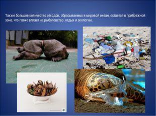 Также большое количество отходов, сбрасываемых в мировой океан, остается в пр
