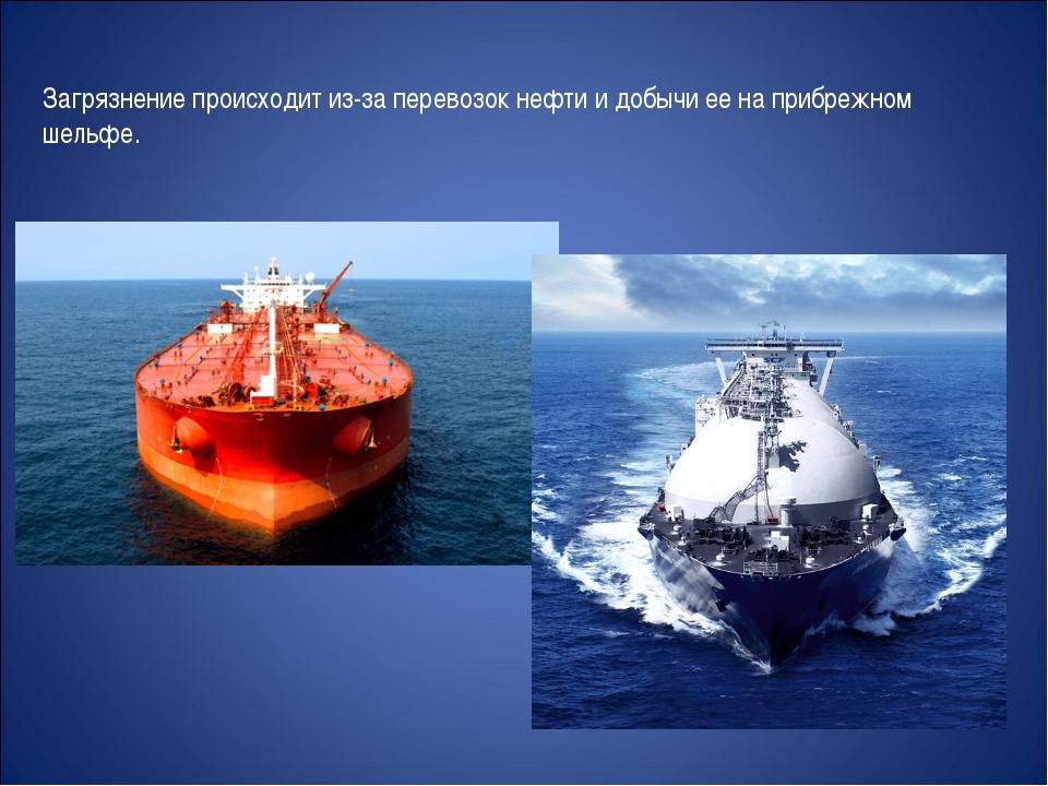 Загрязнение происходит из-за перевозок нефти и добычи ее на прибрежном шельфе.