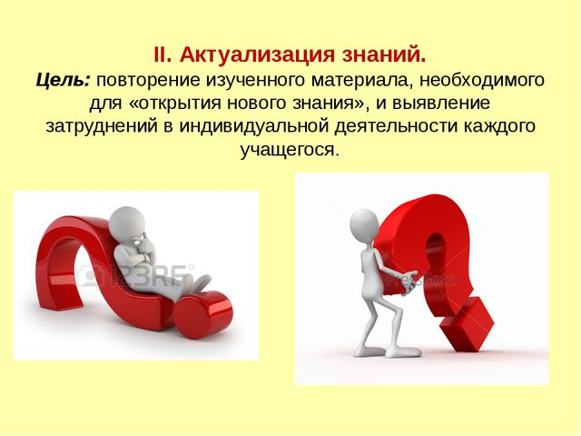 II. Актуализация знаний. Цель: повторение изученного материала, необходимого...