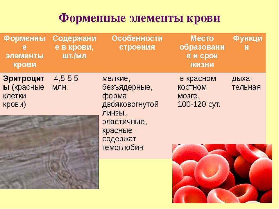 Форменные элементы крови Форменныеэлементы крови Содержание вкрови, шт./мл Ос...