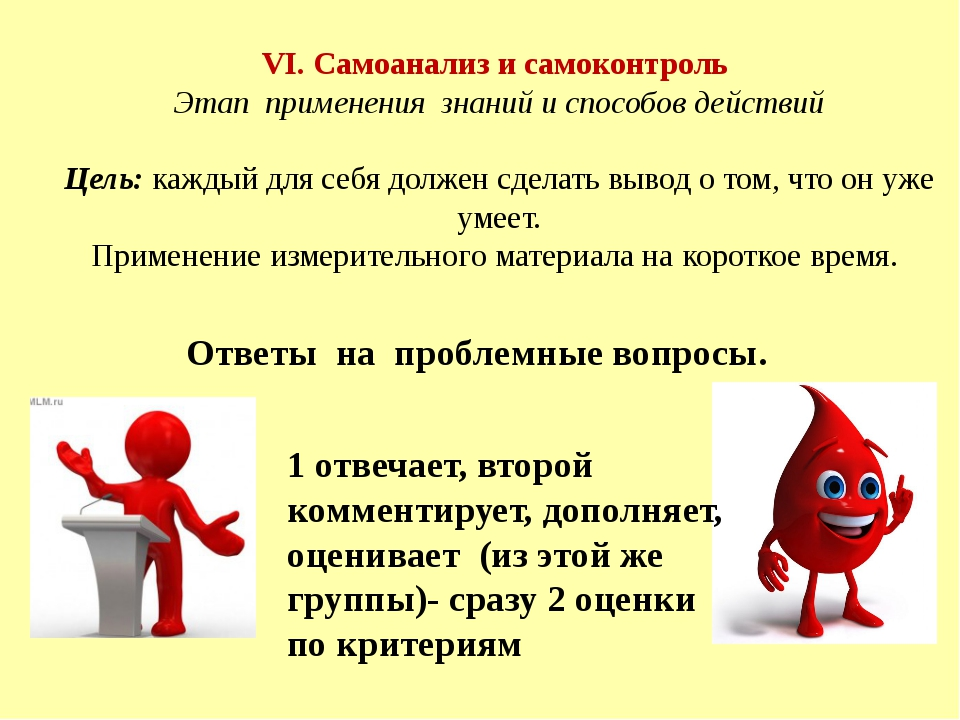 VI. Самоанализ и самоконтроль Этап применения знаний и способов действий Цель...
