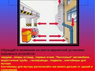 Предупреждение терроризма Обращайте внимание на места вероятной установки взр