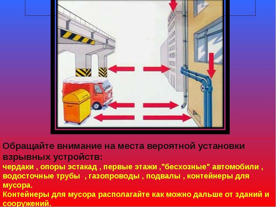 Предупреждение терроризма Обращайте внимание на места вероятной установки взр...